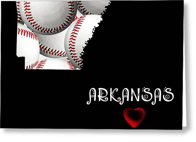 Arkansas Greeting Cards - Arkansas Loves Baseball Greeting Card by Andee Design