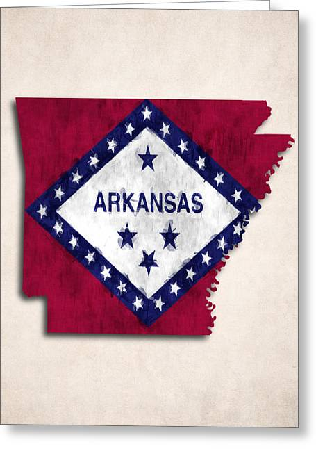Arkansas Map Art With Flag Design Greeting Card by World Art Prints And Designs