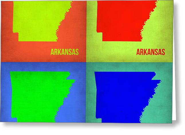 Arkansas Greeting Cards - Arkansas Pop Art Map 1 Greeting Card by Naxart Studio
