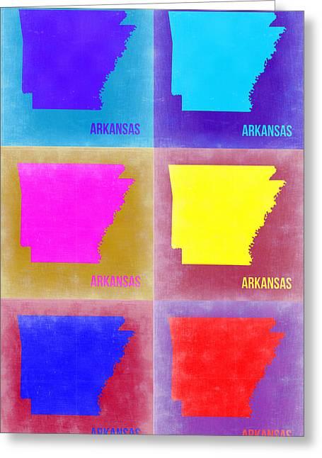 Arkansas Map Greeting Cards - Arkansas Pop Art Map 2 Greeting Card by Naxart Studio