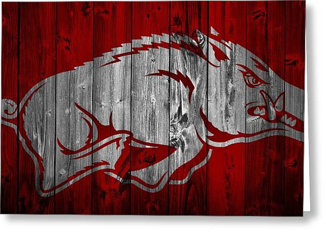 Barn Door Greeting Cards - Arkansas Razorbacks Barn Door Greeting Card by Dan Sproul