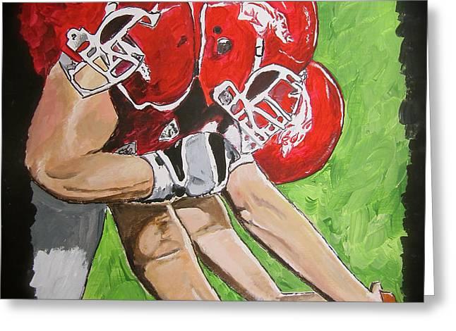 Arkansas Razorbacks Football Greeting Card by Carol Blackhurst
