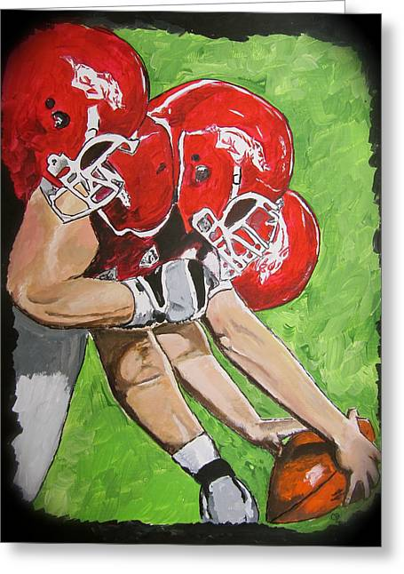 Arkansas Paintings Greeting Cards - Arkansas Razorbacks Football Greeting Card by Carol Blackhurst