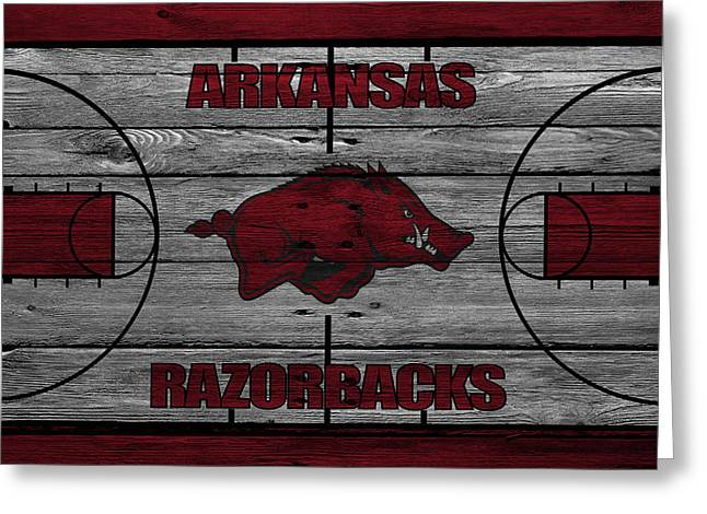 Recently Sold -  - Dunk Greeting Cards - Arkansas Razorbacks Greeting Card by Joe Hamilton
