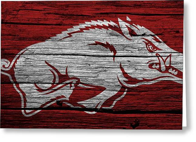 Win Mixed Media Greeting Cards - Arkansas Razorbacks On Wood Greeting Card by Dan Sproul