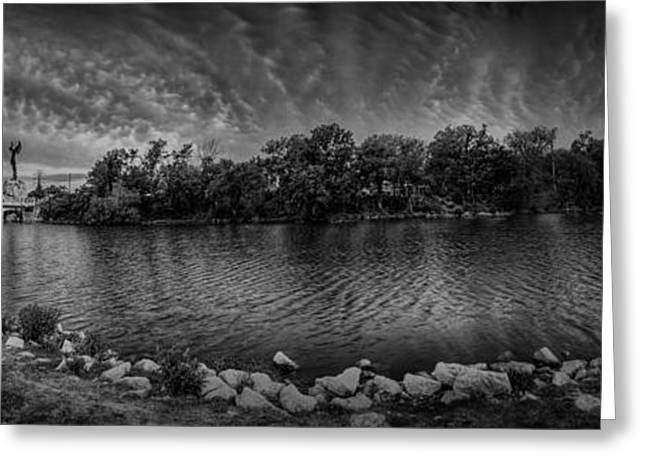 Black And White Hdr Greeting Cards - Arkansas River Panorama Greeting Card by  Caleb McGinn