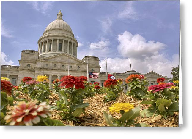 Half Staff Greeting Cards - Arkansas State Capitol - Little Rock Greeting Card by Jason Politte
