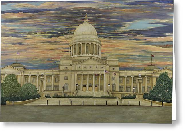 Arkansas Paintings Greeting Cards - Arkansas State Capitol Greeting Card by Mary Ann King