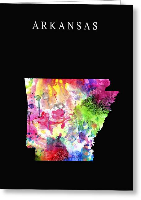 Arkansas State Map Greeting Cards - Arkansas State Greeting Card by Daniel Hagerman
