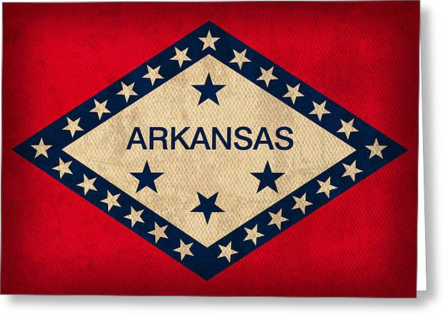 Little Mixed Media Greeting Cards - Arkansas State Flag Art on Worn Canvas Greeting Card by Design Turnpike