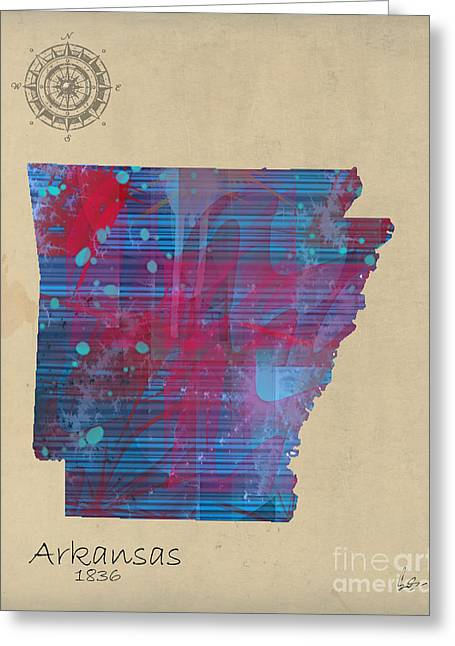 Arkansas State Map Greeting Cards - Arkansas state map Greeting Card by Bri Buckley