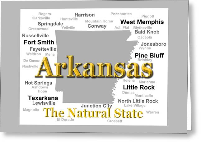 Knob Greeting Cards - Arkansas State Pride Map Silhouette  Greeting Card by Keith Webber Jr