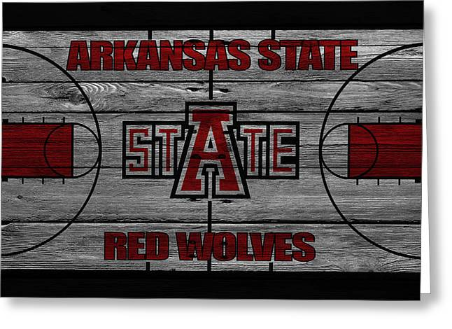 Division Greeting Cards - Arkansas State Red Wolves Greeting Card by Joe Hamilton