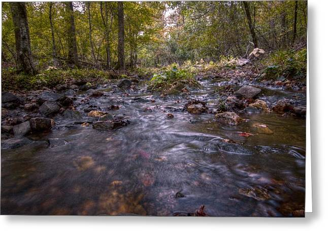 Flowing Stream Greeting Cards - Arkansas Stream Greeting Card by Linda Unger