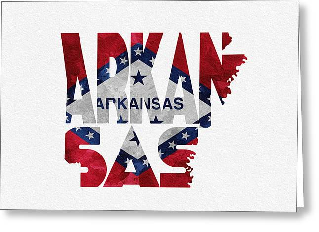 Arkansas State Map Greeting Cards - Arkansas Typographic Map Flag Greeting Card by Ayse Deniz