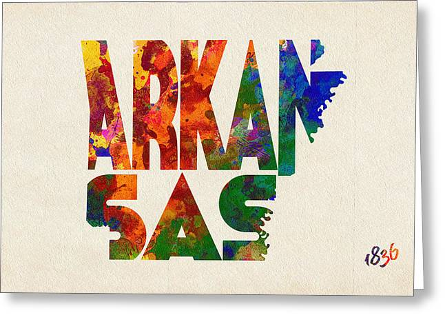 Little Rock Arkansas Greeting Cards - Arkansas Typographic Watercolor Map Greeting Card by Ayse Deniz