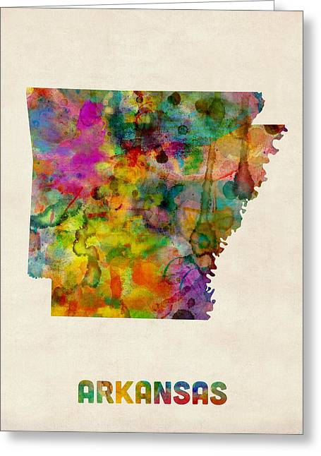 Cartography Digital Greeting Cards - Arkansas Watercolor Map Greeting Card by Michael Tompsett
