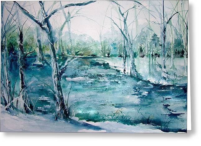 Arkansas Paintings Greeting Cards - Arkansas Winter Greeting Card by Robin Miller-Bookhout
