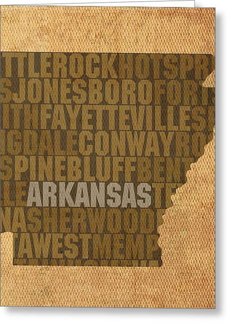 Arkansas Mixed Media Greeting Cards - Arkansas Word Art State Map on Canvas Greeting Card by Design Turnpike
