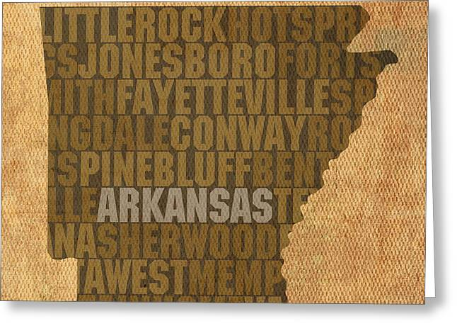 Arkansas Word Art State Map on Canvas Greeting Card by Design Turnpike