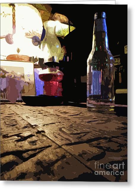 Longneck Greeting Cards - Arkey Blues Bar top Greeting Card by Joe Jake Pratt