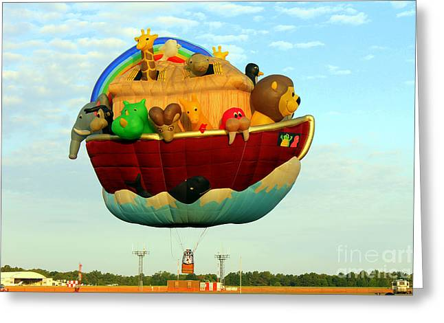 Arky Hot Air Balloon Greeting Card by Kathy  White
