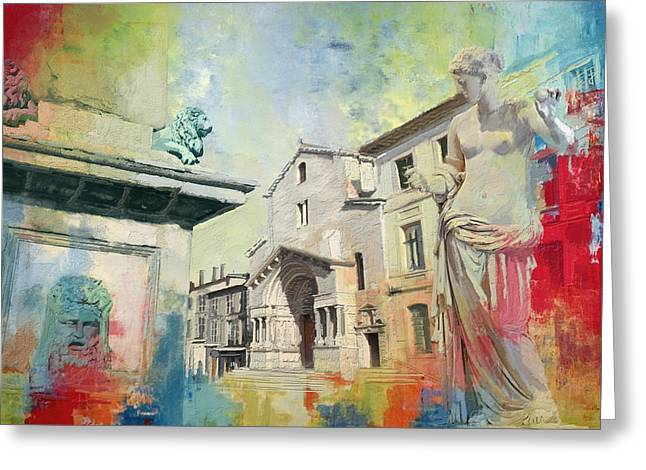 Romanesque Greeting Cards - Arles Roman and Romanesque Monuments Greeting Card by Catf