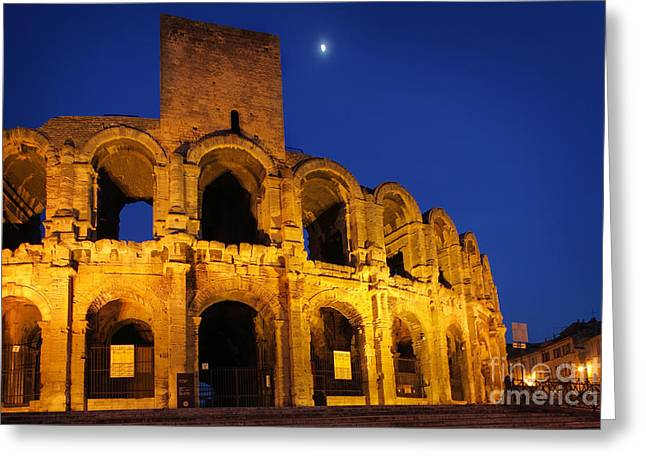 Archeology Greeting Cards - Arles Roman Arena Greeting Card by Inge Johnsson