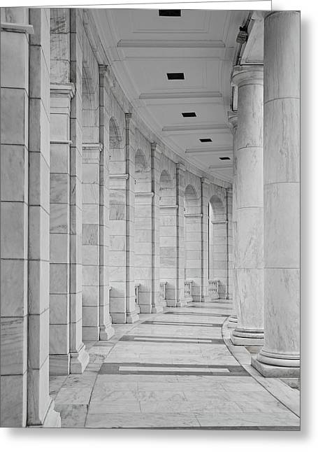 Memorial Greeting Cards - Arlington Amphiteather Arches And Columns Greeting Card by Susan Candelario