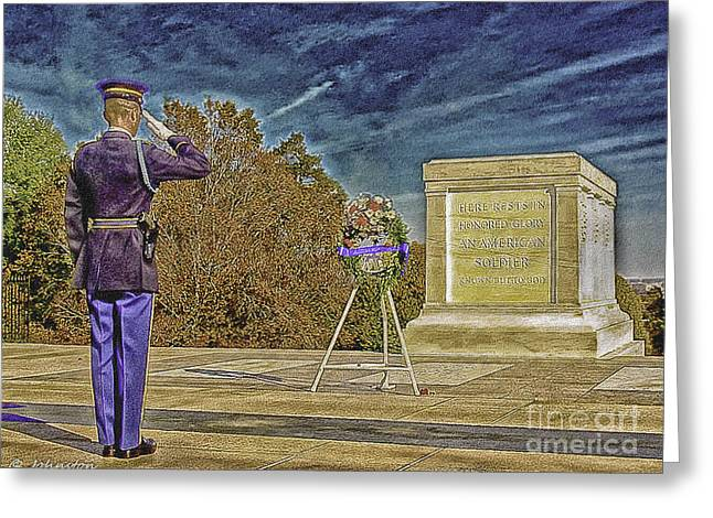 Tomb Mixed Media Greeting Cards - Arlington Cemetery Tomb of The Unknowns Greeting Card by  Bob and Nadine Johnston