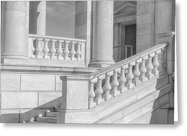D.w Greeting Cards - Arlington Memorial Amphitheater  BW Greeting Card by Susan Candelario