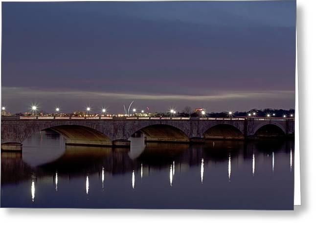 Arlington Greeting Cards - Arlington Memorial Bridge Reflected Greeting Card by Tim Wilson