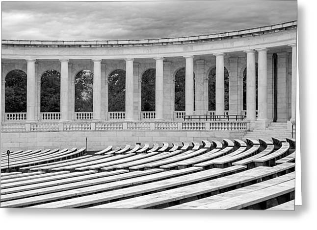 Arlington Memorial Cemetery Amphitheater  Bw Greeting Card by Susan Candelario