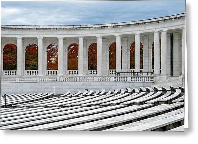 Arlington Greeting Cards - Arlington Memorial Cemetery Amphitheater  Greeting Card by Susan Candelario