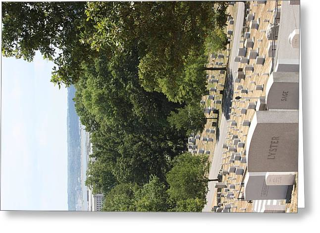 Headstones Photographs Greeting Cards - Arlington National Cemetery - 121227 Greeting Card by DC Photographer