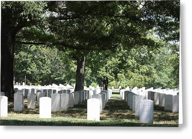 Headstones Photographs Greeting Cards - Arlington National Cemetery - 121246 Greeting Card by DC Photographer