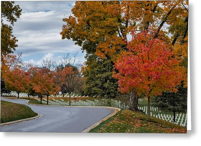 Headstones Greeting Cards - Arlington National Cemetery In Autumn Greeting Card by Susan Candelario
