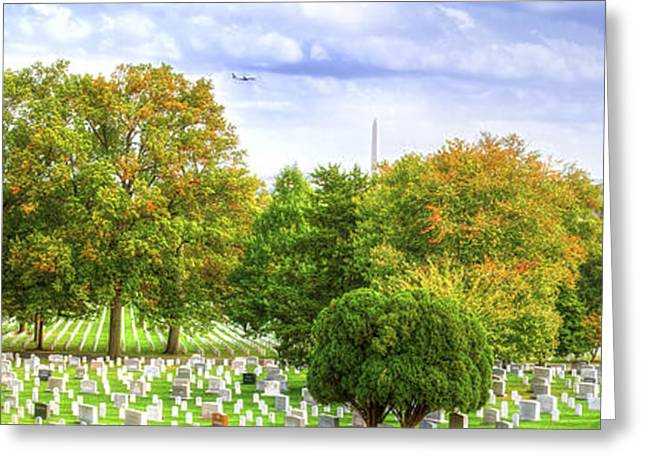 Wife Greeting Cards - Arlington National Cemetery Panorama Greeting Card by Mark Andrew Thomas