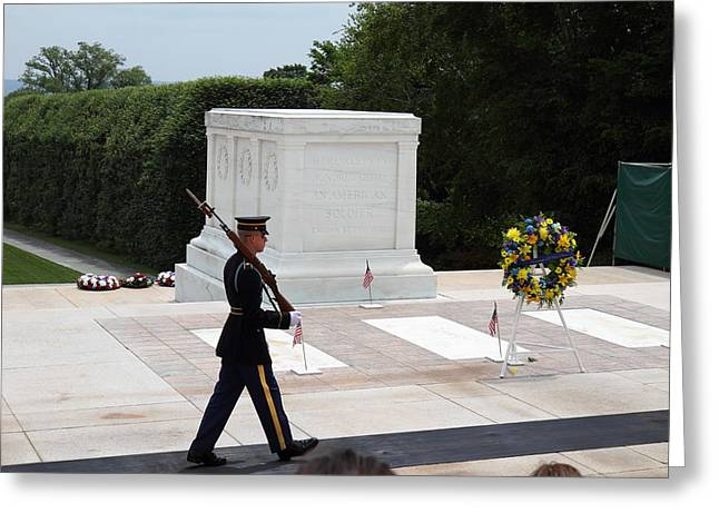 Stone Photographs Greeting Cards - Arlington National Cemetery - Tomb of the Unknown Soldier - 01133 Greeting Card by DC Photographer