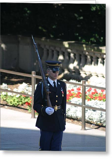 Burial Greeting Cards - Arlington National Cemetery - Tomb of the Unknown Soldier - 121215 Greeting Card by DC Photographer