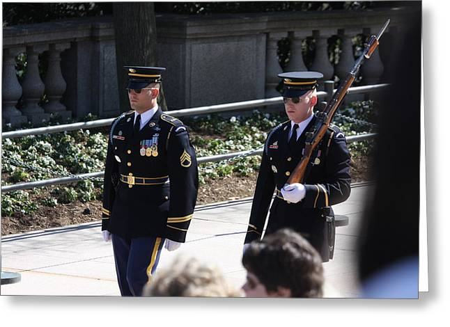 Grave Greeting Cards - Arlington National Cemetery - Tomb of the Unknown Soldier - 121222 Greeting Card by DC Photographer