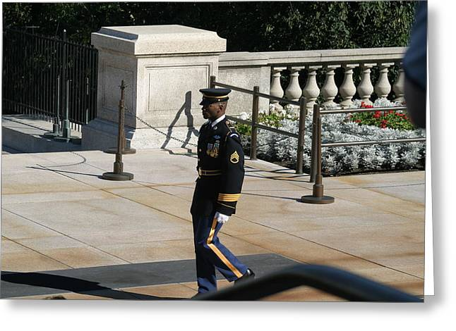 Burial Greeting Cards - Arlington National Cemetery - Tomb of the Unknown Soldier - 12125 Greeting Card by DC Photographer