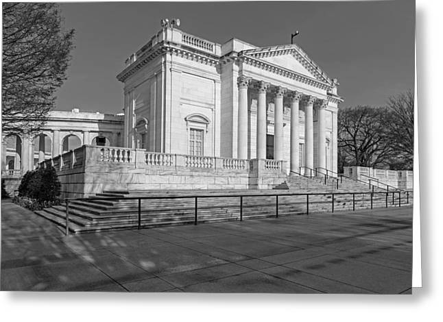 D.w Greeting Cards - Arlington National Memorial Amphitheater BW Greeting Card by Susan Candelario