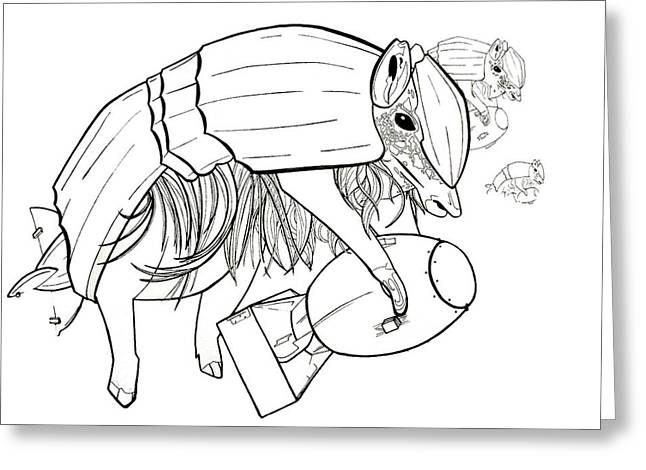 Hairy Drawings Greeting Cards - Armadillo Warfare Greeting Card by Lucy Loo Wales