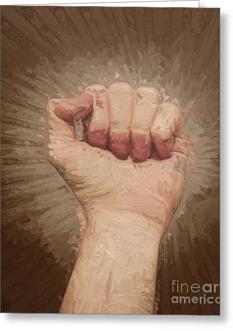 Clenched Fist Greeting Cards - Armed rise up Greeting Card by Ryan Jorgensen