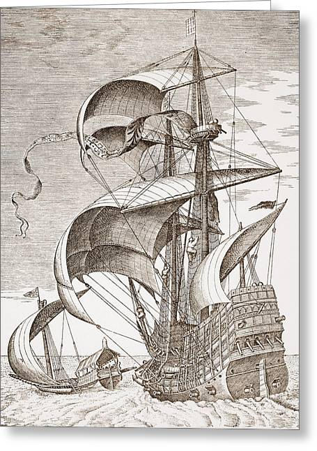 Seascape Drawings Greeting Cards - Armed Three-master On The Open Sea Greeting Card by Pieter the Elder Bruegel