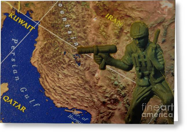 Armed Services Greeting Cards - Armed Toy Solider with Middle East Map Greeting Card by Amy Cicconi