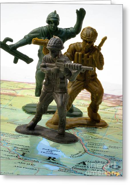Deployment Greeting Cards - Armed Toy Soliders on Iraq Map Greeting Card by Amy Cicconi