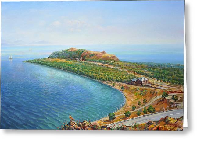 Lake Paintings Greeting Cards - Armenian lake Sevan Greeting Card by Meruzhan Khachatryan
