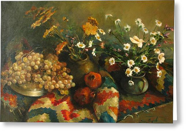 Still-life With A Rug Greeting Cards - Armenian still-life Greeting Card by Tigran Ghulyan